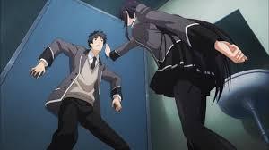 Hoyo es sorprendido por Kuroda en Shoujo-tachi wa Kouya wo Mesazu.