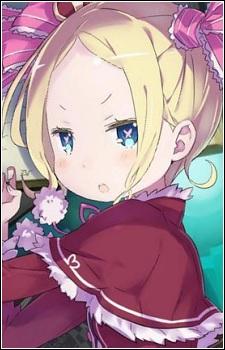 Beatrice es una maga super poderosa con apariencia de niña, algo muy común en el mundo del anime. No solo eso, a pesar de ser muy mayor, se comporta como una auténtica cría. Es la protectora de la biblioteca del Sr. Roswaal en el dominio Matthers. No es que le tenga aprecio alguno a Subaru, pero tienen una relación curiosa: Subaru la chincha y ella lo revienta contra la pared. Cabe destacar que a Beatrice le encanta Puck y lo acaricia horas y horas. En la historia, Beatrice cura a Subaru en unas cuantas ocasiones y le avisa de que ha sido maldito. Gracias a ella, este descubre qué mal azota el dominio. Beatrice en un momento determinante de la serie protege a Subaru de Ram, lo cual desencadena una ruptura de trama curiosa. Después de eso su personaje queda relegado a un segundo plano.